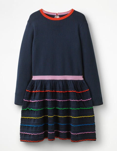 Rainbow Ruffle Knitted Dress