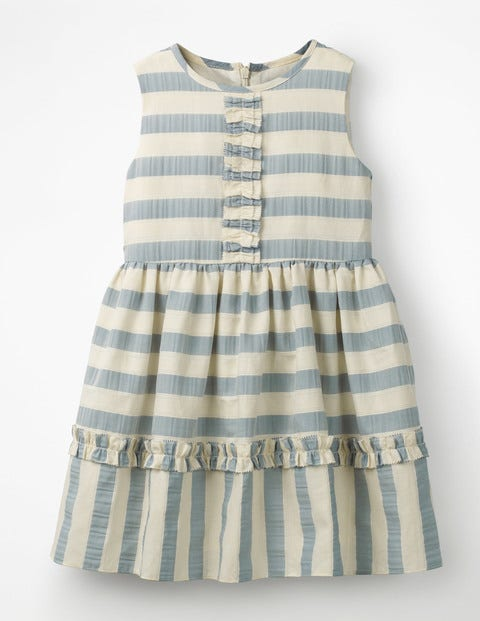 Textured Stripe Ruffle Dress - Ashley Blue/Ivory Stripe