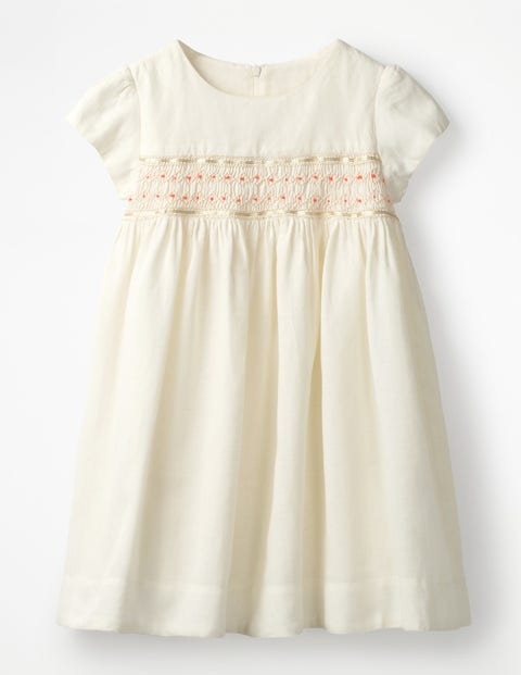 1940s Children's Clothing: Girls, Boys, Baby, Toddler Pretty Smocked Dress Ivory Girls Boden Ivory £51.00 AT vintagedancer.com