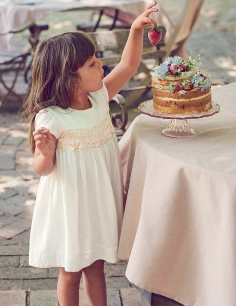 Pretty Smocked Dress - Ivory