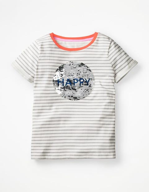 T-Shirt Happy À Sequins Réversibles - Smiley ivoire/gris chiné