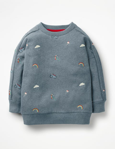 Embroidered Slouchy Sweatshirt - Blue Marl Embroidery