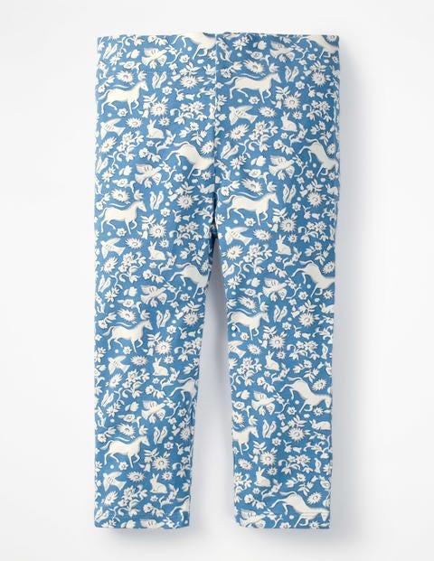 Fun Cropped Leggings - Elizabethan Blue Wild Ponies