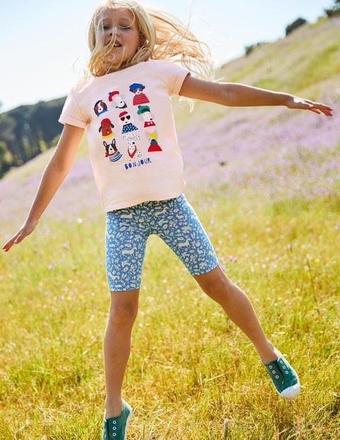 Jersey Knee Shorts - Lake Blue Wild Ponies