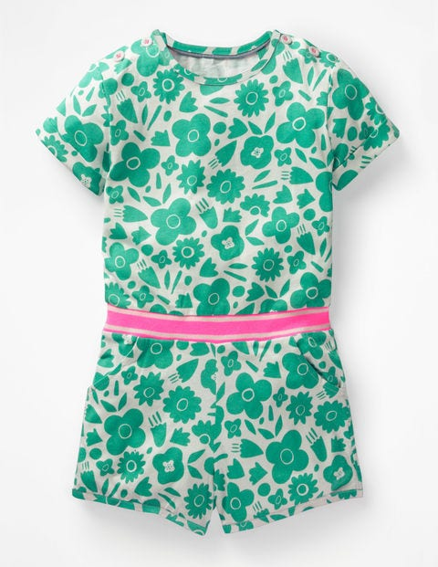 Colour Pop Jersey Playsuit - Green/White Surf Floral