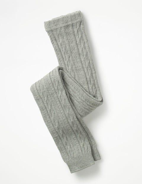 Cable Footless Tights - Grey Marl