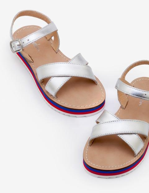 Stripy Sandals - Silver Metallic