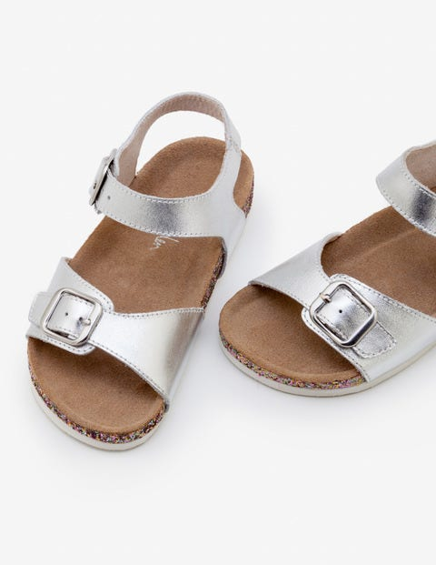 Leather Sandals - Silver Metallic