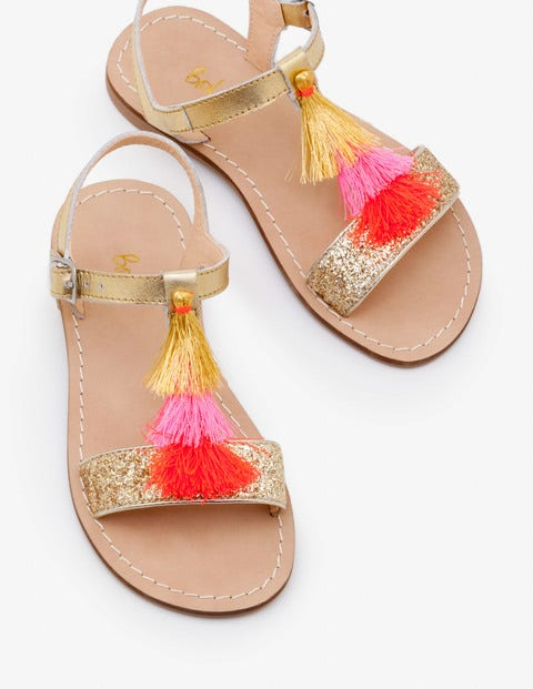 Tassel Sandals - Gold Metallic
