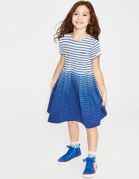 Fun Jersey Dress - Starboard Blue Ombré Stripe