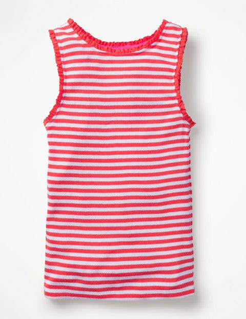 Lace Trim Ribbed Vest - White/Tropical Coral Stripe