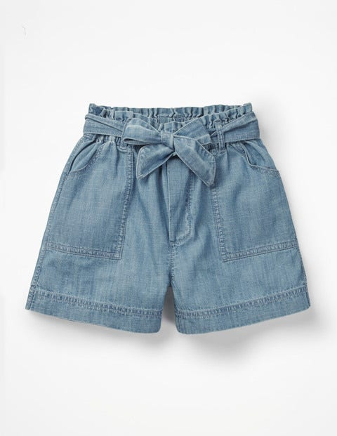 Tie-Waist Shorts - Chambray