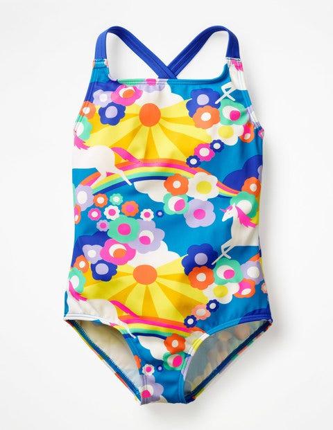 Cross-Back Swimsuit - Multi Unicorn Sky