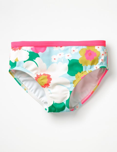 Gemusterte Bikinihose - Quarzblau, Tropische Blumen