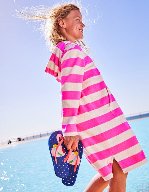 Robe de plage rayée en éponge