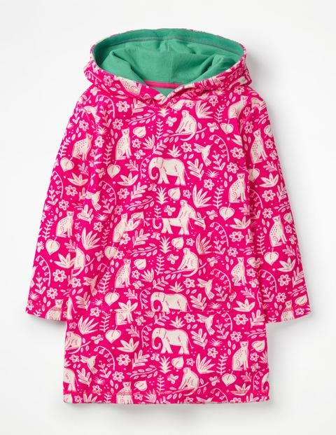 Fun Towelling Beach Dress - Pink Glo Indian Garden