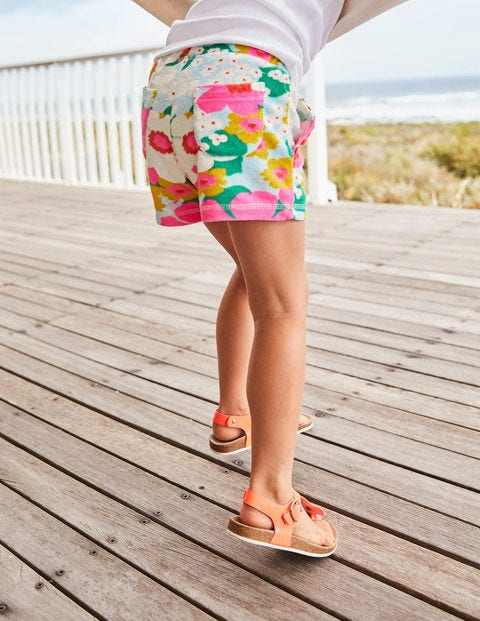 Towelling Shorts - Blue/Pink Tropical Floral