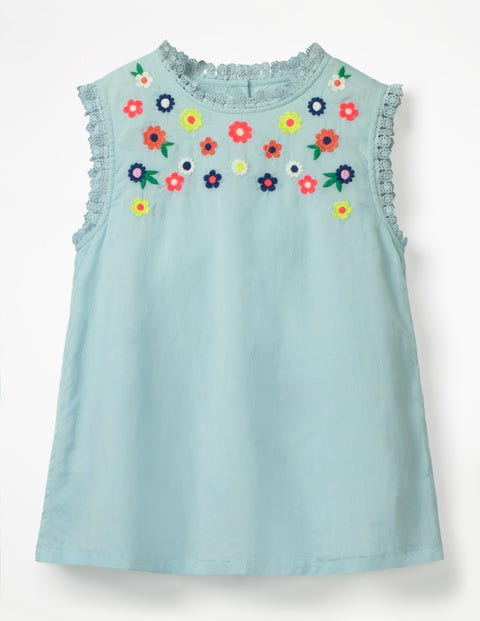Floral Embroidered Top - Tropical Rain Blue