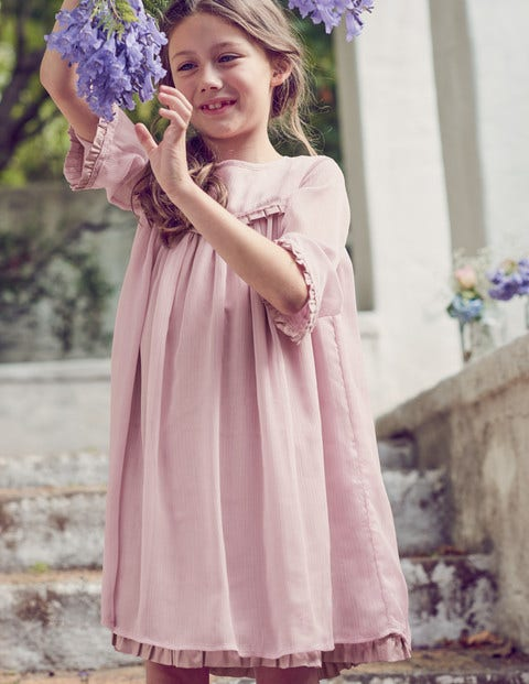 Sparkly Ruffle Chiffon Dress - Sugared Sweet Pea Lilac