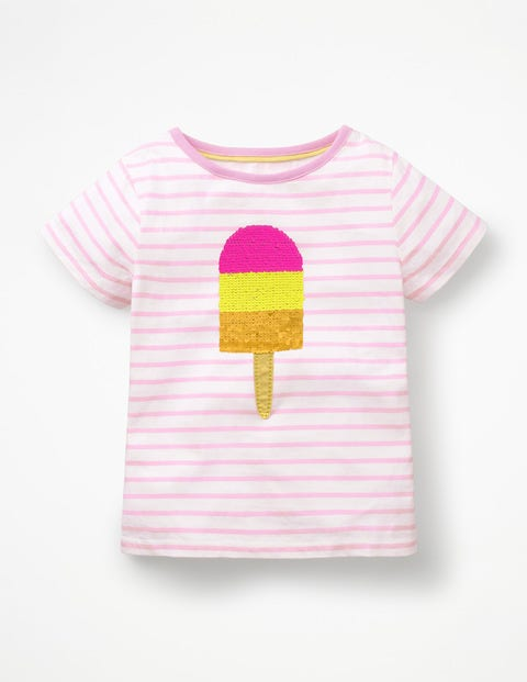 Colour-Change Sequin T-Shirt - Parasol Pink/White Ice Lolly
