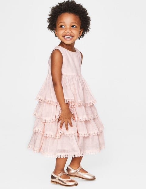 Tiered Lace Trim Dress - Pink Icing
