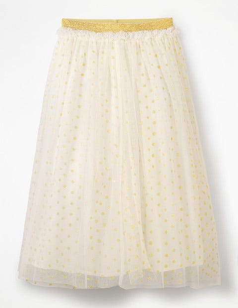 Lurex Spot Tulle Skirt - Ivory