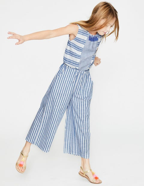 Culotte-Jumpsuit Mit Fransen - Elisabethanisches Blau/Weiß