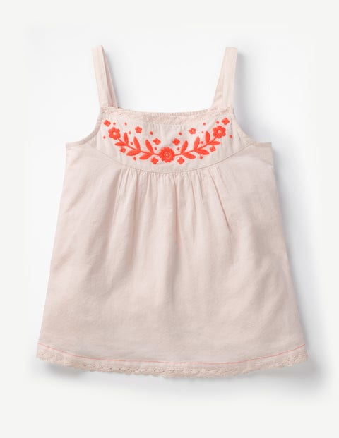 Embroidered Strappy Top - Parisian Pink