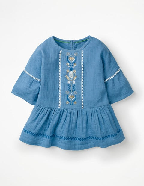 Embroidered Peplum Top - Elizabethan Blue