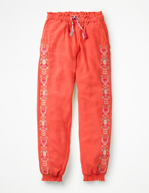 Embroidered Floaty Trousers - Tropical Coral