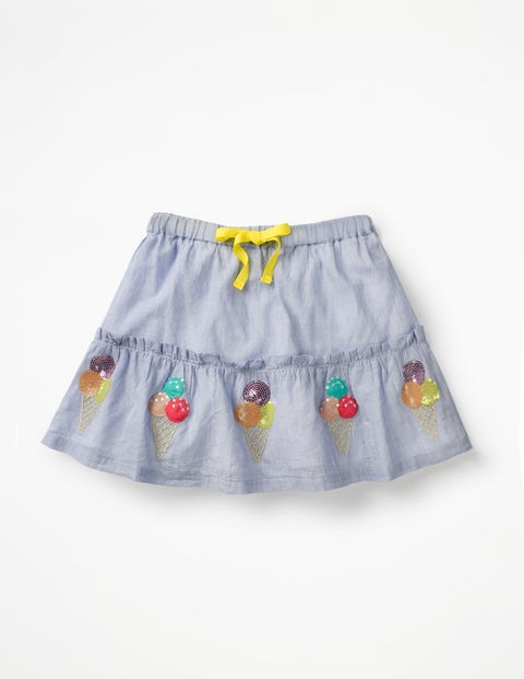 Sequin Appliqué Skirt - Chambray