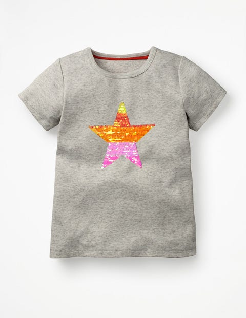Sequin-Change T-Shirt - Grey Marl Orange Star