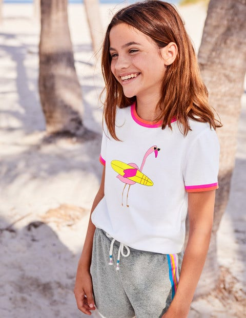 Animal Fun T-Shirt - White Flamingo