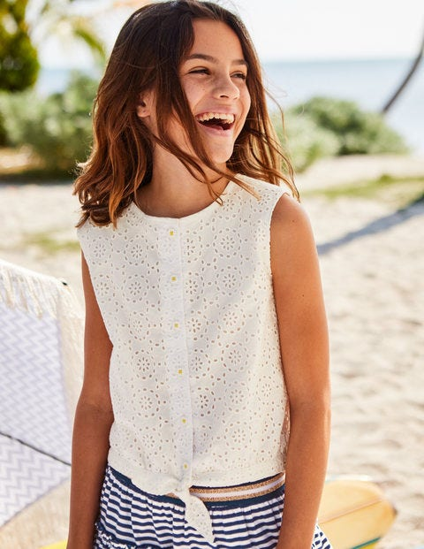 Tie-Front Top - White Broderie