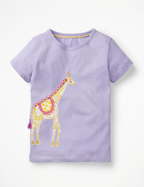 Animal Big Appliqué T-Shirt - Parma Violet Purple Giraffe