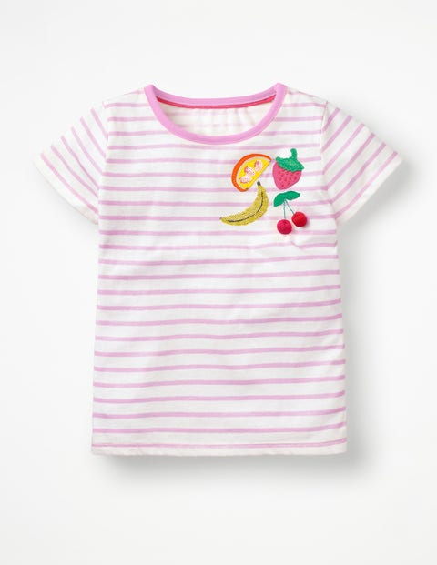 Stripy Embellished T-Shirt - White/Parasol Pink Fruit