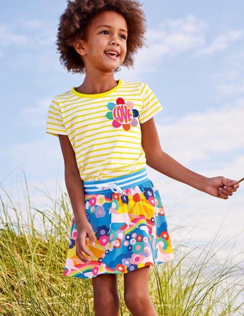 Stripy Embellished T-Shirt - White /Sunshine Yellow Love