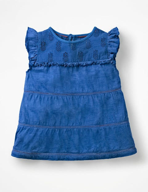 Tropical Broderie Top - Duke Blue