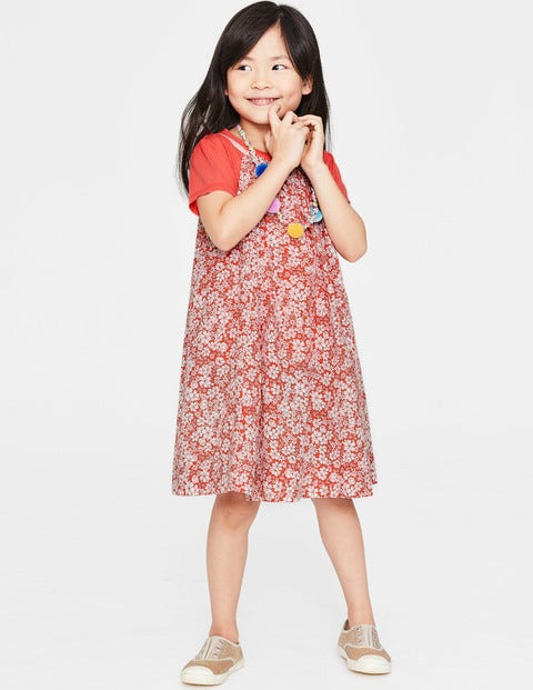 T-Shirt And Printed Dress Set - Tropical Coral Forget-Me-Not
