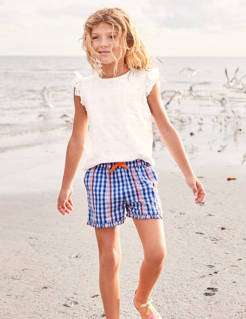 Frill Hem Shorts - Rainbow Gingham