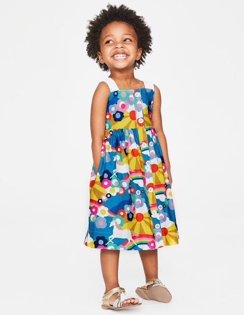 Button Front Sundress   Multi Unicorn Sunset by Boden