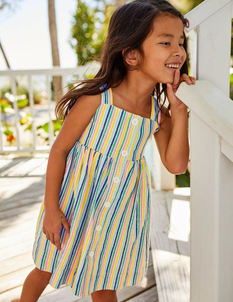 Button-Front Sundress - Multi Candy Stripe