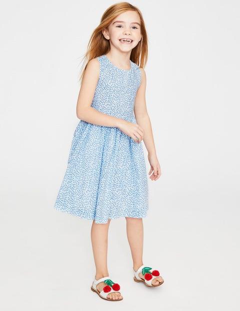 Cross-Back Printed Dress - Lake Blue Sweet Berry