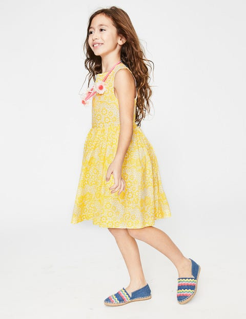 Cross-Back Printed Dress - Sunshine Yellow Daisy Cloud