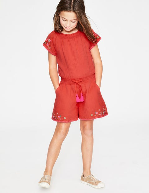 Embroidered Woven Playsuit - Tropical Coral
