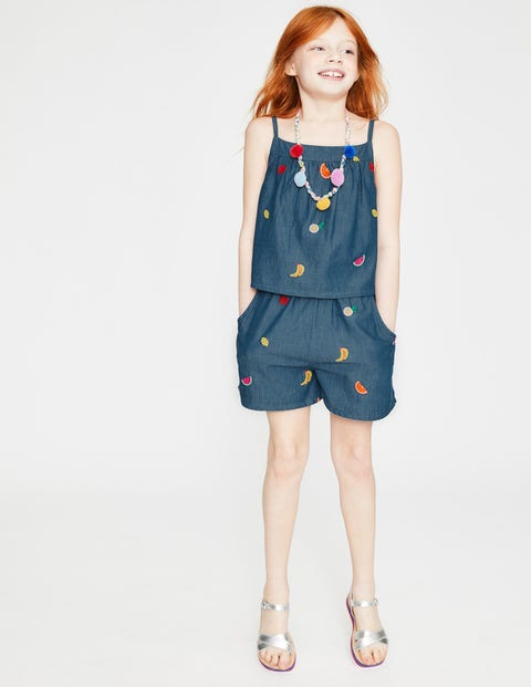 Fun Layered Romper - Indigo Blue/Fruits