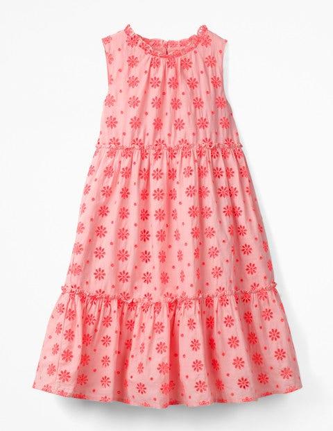 Broderie Tiered Midi Dress - Highlighter Orange/Pink
