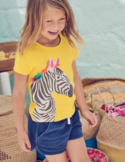 Safari Appliqué T-Shirt - Sunshine Yellow Zebra
