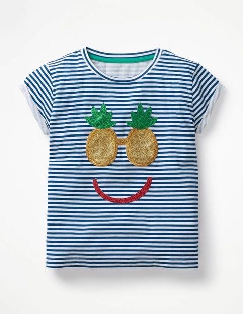 Shiny Appliqué T-Shirt - White/Blue Pineapple Face