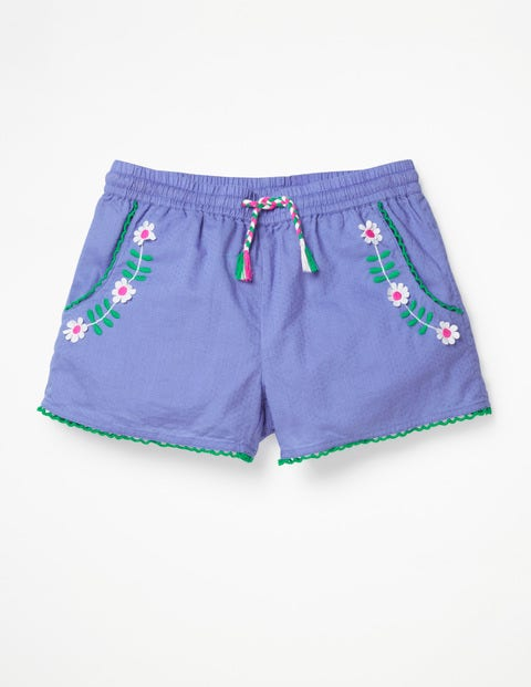 Embroidered Tie-Waist Shorts - Dusty Iris Purple